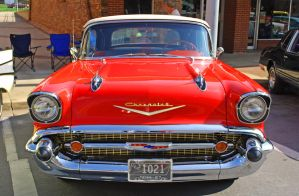 Red 57 Chevy Grille by E-Davila-Photography