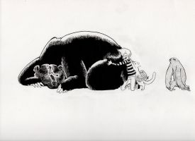 An Owl, Bear, Cat, and Sloth by montiray