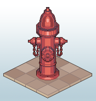 Isometric Pixel Fire Hydrant by Pseudolonewolf