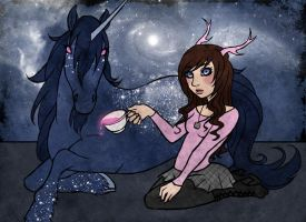 The deerling and the unicorn by nelipoth