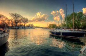 boats in the sunset. by theycome