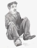 Charlie Chaplin laughing by Orangeandbluecream