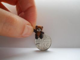 Ooak micro miniature jointed teddy bear - two tone by tweebears