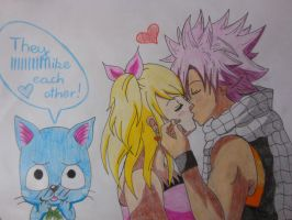 Natsu and Lucy and Happy by Annaa998