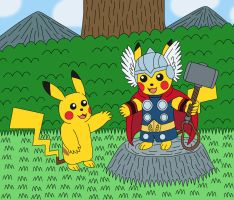 Pikachu and Thor Pikachu the God of Thunder by MCsaurus