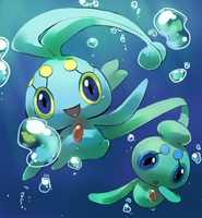 Manaphy and Phione by PinkGermy
