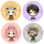 Naruto buttons by Miivei