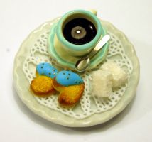 Miniature Coffee Time Brooch by Alusaf