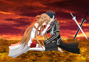 Kirito and Asuna by ItachiJiraiya