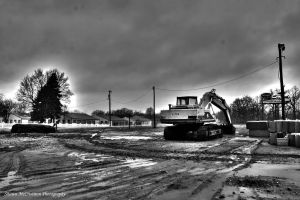 Backhoe-hdr-bw by aseaofflames