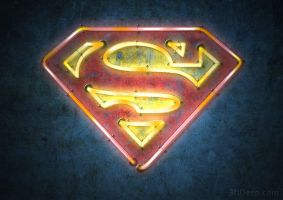 Superman Logo - Neon by 3ftDeep