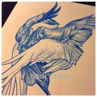 tattoo design crowswan by sooj