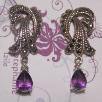 Vintage Charm - Amethyst and Silver Earrings by Izile