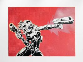Domino (Marvel Comics) Vintage Stencil by prometteu