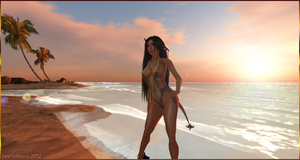 Succubus at the beach 02 - Second Life by Jace-Lethecus