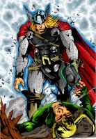 Thor vs Loki by richrow