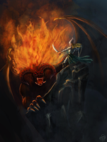 Glorfindel and the Balrog by leseraphin