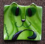 Fused Glass Cat Dish by pipingplover