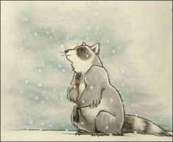 raccoon in the snow by luve