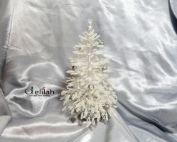 White Beaded Christmas Tree Decoration by mssdelilah