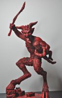 Krampus Statue, Red Finish by DellamorteCo