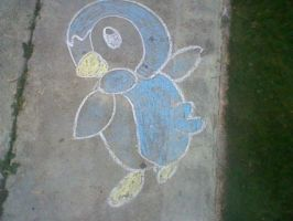 Chalk Drawing - Pokemon Piplup by Sophie-bear