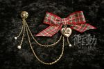 Plaid Bow and heart Locket on chain by shoudoumagic