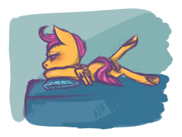 Scootaloo Relaxing by Battleseed