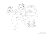 Line Art Sample: Sky Captain by padfootlet