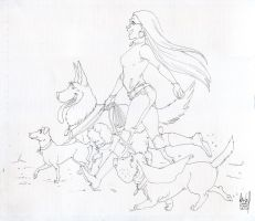 Sister and dogs - inks by KarlaDiazC