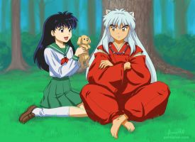 InuYasha, Kagome, and ? by paintpixel