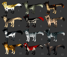 fox/wolf/cat adoptables {CLOSED} by HappyHappyAdopt