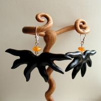 Hand carved earrings Amber and Wood by AmberSculpture