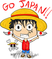 Luffy with Japan by Okami-Moony