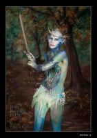 Snow queen bodypaint comp swing sword warrior by Bodypaintingbycatdot