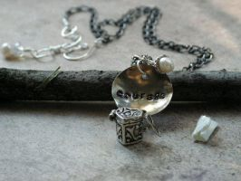 Courage handstamped with heart secret message box by artistiquejewelry