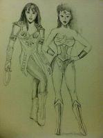 wonder woman and xena sketch by dezz1977