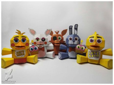 five nights at freddy's plushies papercraft by Adogopaper
