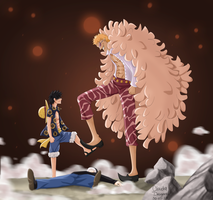 Luffy vs Doflamingo by claudiadragneel