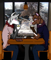 . Cold Paws and Warm Coffee . by stormqloud