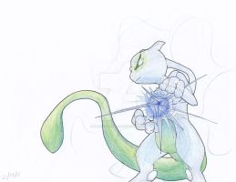 Shiny Mewtwo used Aura Sphere! by Creation7X24