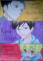 Kyoya, Mori, And honey Senpai by BeeeesArt