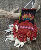 Sacred Heart Amulet Bag Necklace With Milagros by TarpanBeadworks