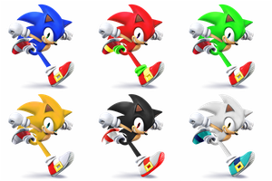 Sonic SSB4 Recolors by shadowgarion