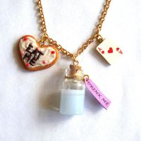 Alice in Wonderland Eat Me Drink Me Charm Necklace by FatallyFeminine