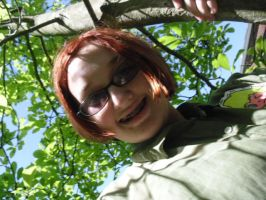 me in a tree with my tweek shirt on by lisabean