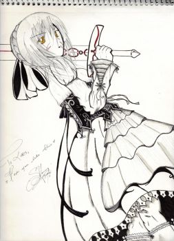 Alter Saber Sketch Ink Com by LadyReiha