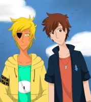 dipper and bill Cipher by isaya-nee