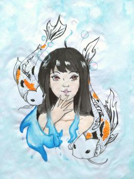 Koi Fish Girl by Lily-L