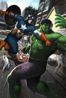 Cap Punches Hulk by Habjan81